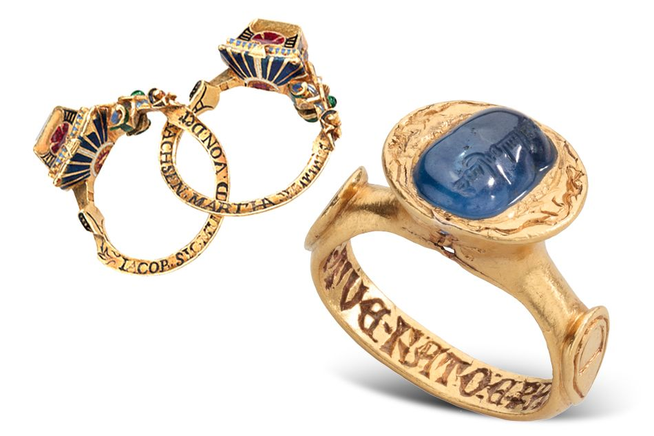 The German Renaissance Gimmel Ring with Memento Mori, 1631 (left), in gold, enamel, diamond and ruby, commemorates a marriage and also serves as a reminder of death. The Italian Medieval Inscribed Sapphire Ring, late 14th century, repurposes a sapphire engraved with Islamic text, possibly from the 10th century. Griffin Collection, photos by Richard Goodbody | Rings of the Lords | 1stdibs Introspective
