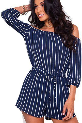 0e302a65b4e GUOLEZEEV Women s Elegant Stripes Off Shoulder 3 4 Sleeve Jumpsuits Rompers