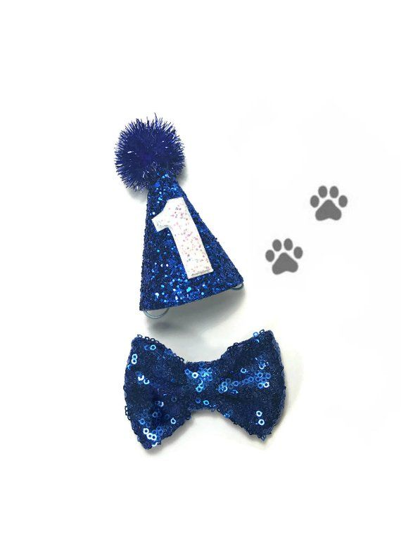 149b10181bca Dog Party Hat and Bow Set! Mini royal blue glitter party hat, blue tinsel  pom, with or without a white number. 3 royal blue sequin bow.