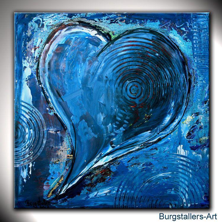 Herzbild Klein Blau Herz Bilder Abstrakt Gemalde In 2019 Herz