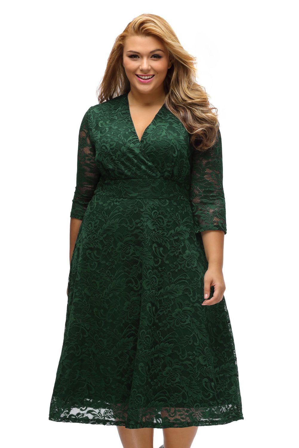 Olive Green Plus Size Surplice V Neck Lace Formal Skater Dress ...
