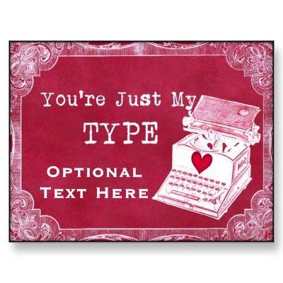 Steampunk Vintage Typewriter Personalized Valentine Postcard