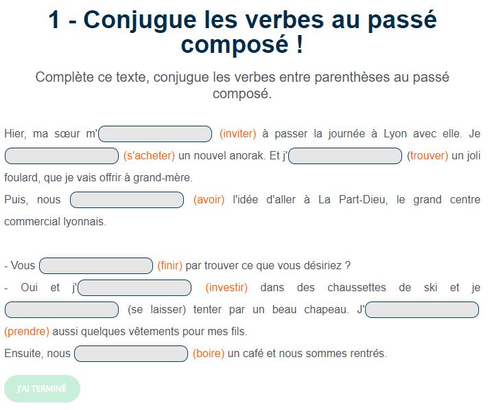 Conjugue Les Verbes Au Passe Compose Passe Compose Conjugaison Cm1 Exercices Conjugaison