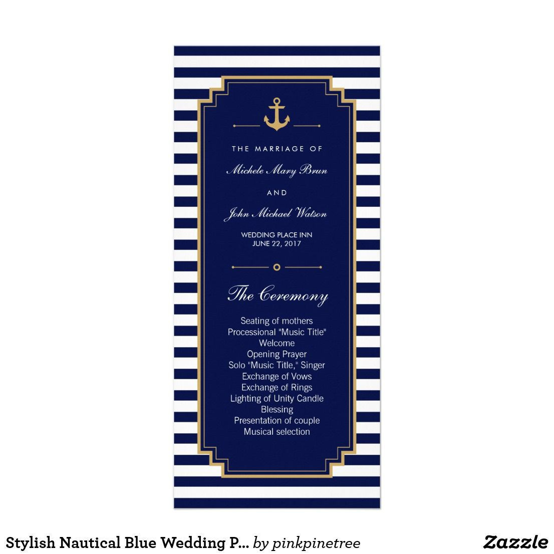Stylish nautical blue wedding program rack cards wedding programs stylish nautical blue wedding program rack cards stopboris Gallery