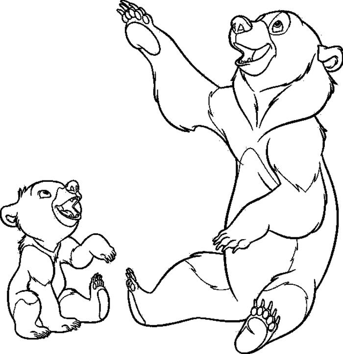 Brother Bear Playing And Laughing Together Coloring Pages For Kids Css Printable Brother Bear Color Bear Coloring Pages Coloring Pages Disney Coloring Pages