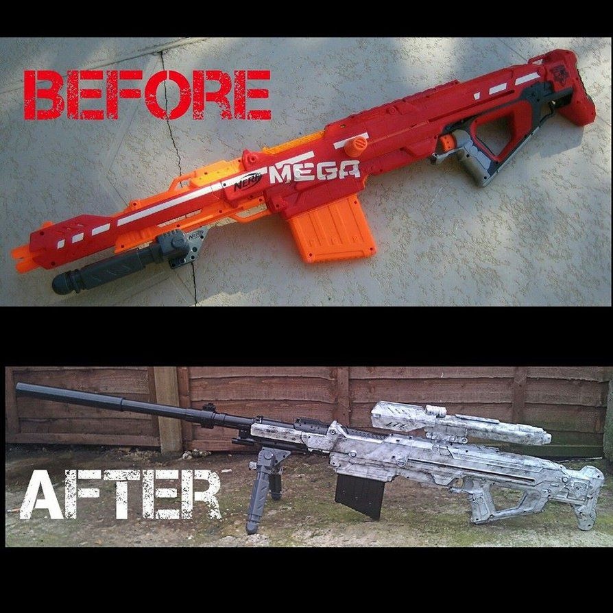 Nerf Centurion mod before and after