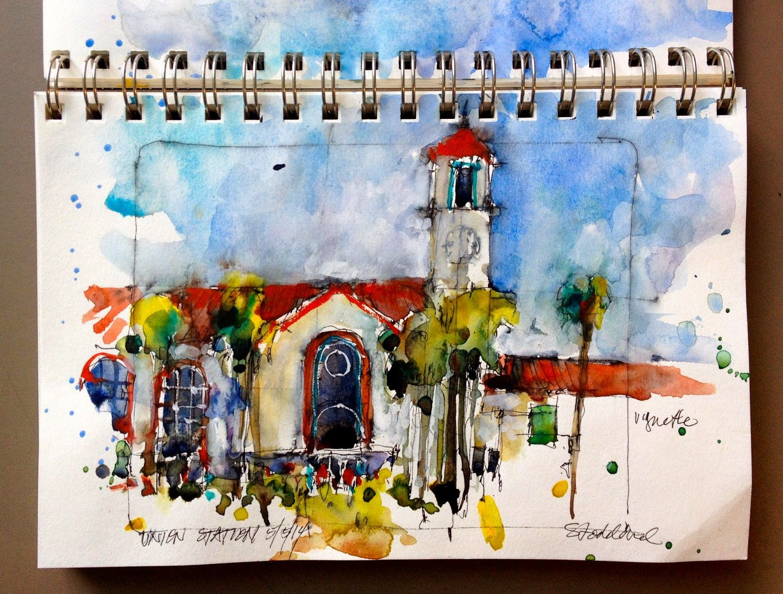 Art And Life Los Angeles Union Station Art Urban Sketching Watercolor Projects
