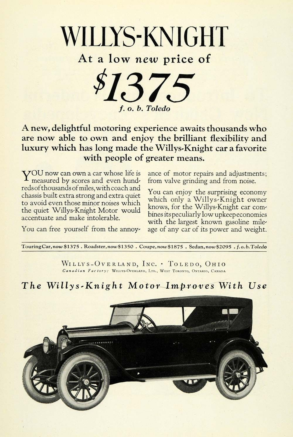 1922 Ad Willys-Overland Motor Car Willys-Knight Vehicle Model ...