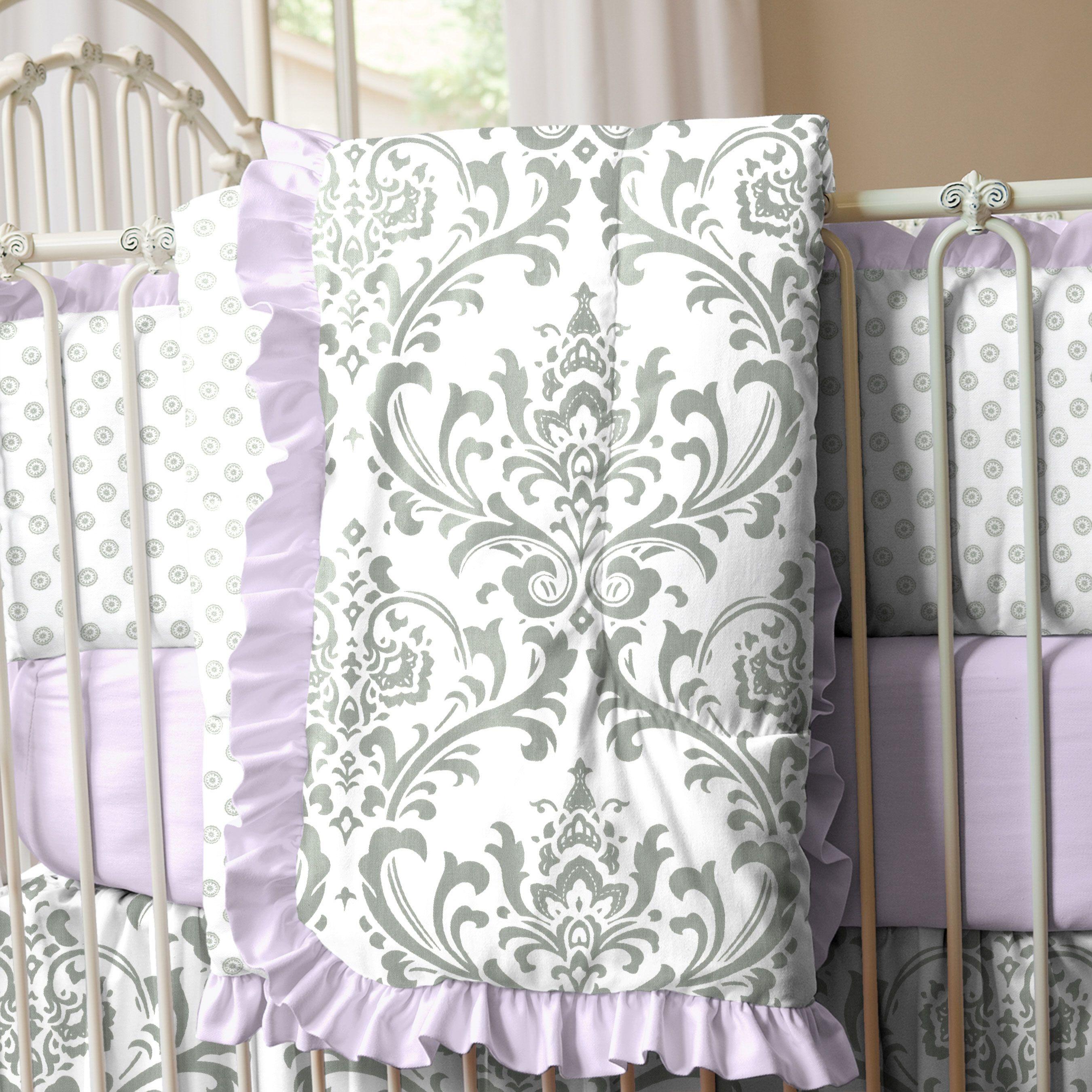 Lilac And Gray Traditions Damask Crib Comforter Damask
