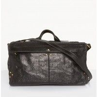 Jerome Dreyfuss Raoul bag in black viper features smooth leather handles tops this snakeskin embossed leather bag with gold accents and double zippers that open into a large main compartment – find it exclusively at TheDreslyn.com; free shipping and handl