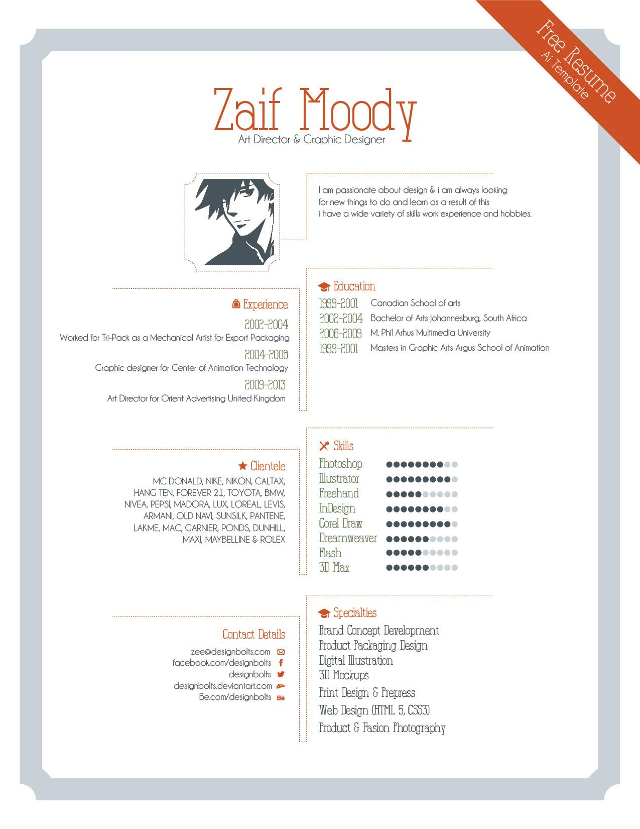 free resume template for graphic designers illustrator amp eps ...