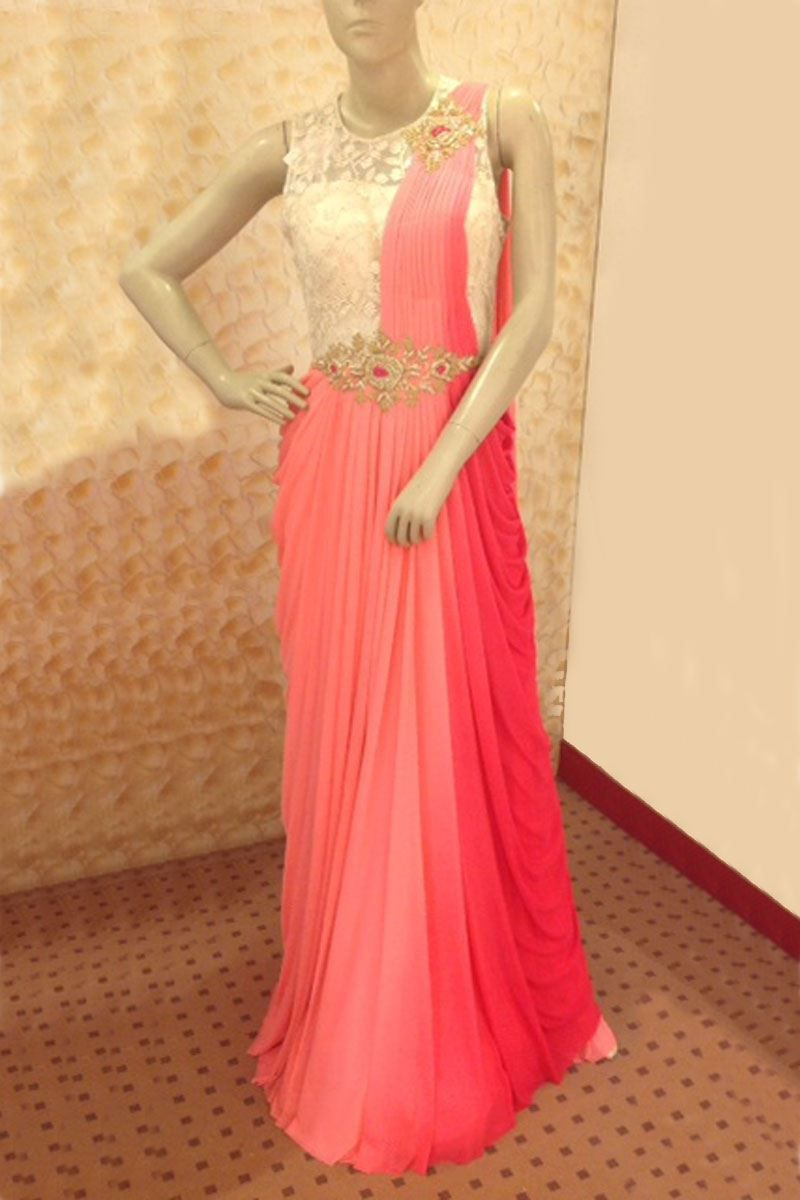 ed88efdcbf6 Show details for Pallu style gown in pink