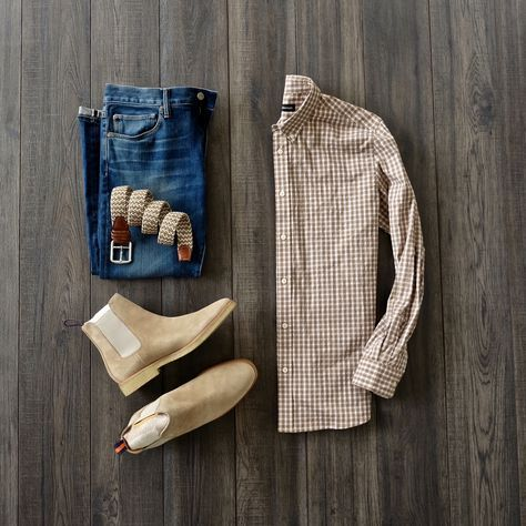 Casual Friday With A Brown Gingham Shirt With Selvedge