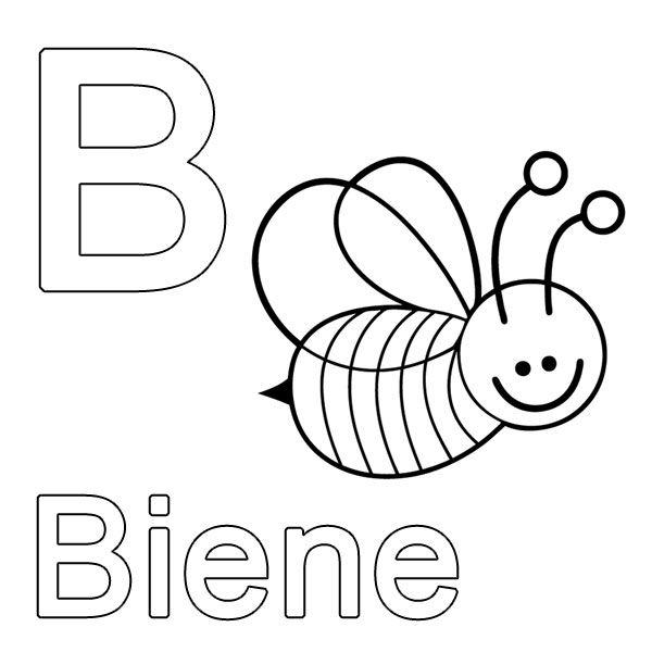 Ausmalbild Buchstaben lernen: Kostenlose Malvorlage: B wie Biene ...