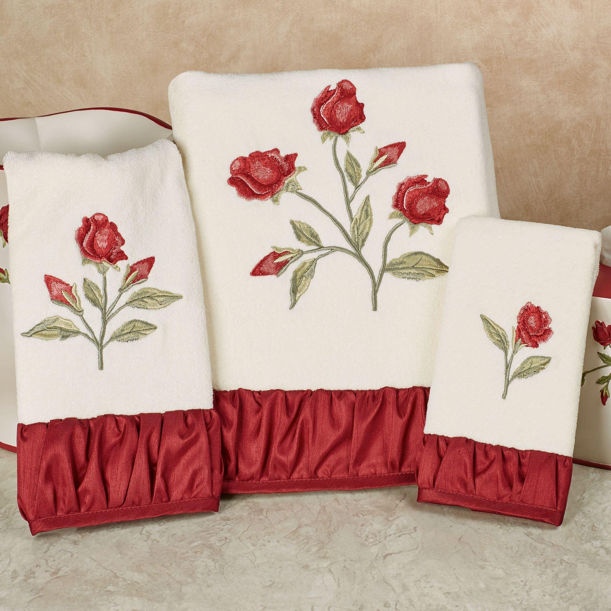 Briar Rose Embroidered Red Floral Bath Towel Set Floral Bath