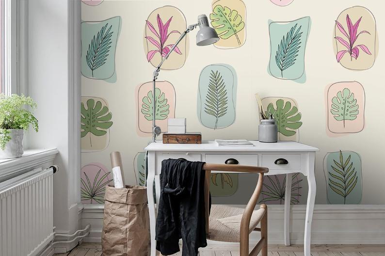 3D Handpainted, Cartoon leaf Wallpaper, Removable Self