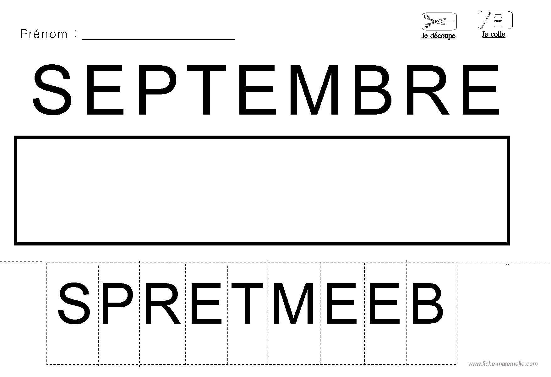 Lecture decouper et coller les lettres du mois septembre - Lettre a decouper ...