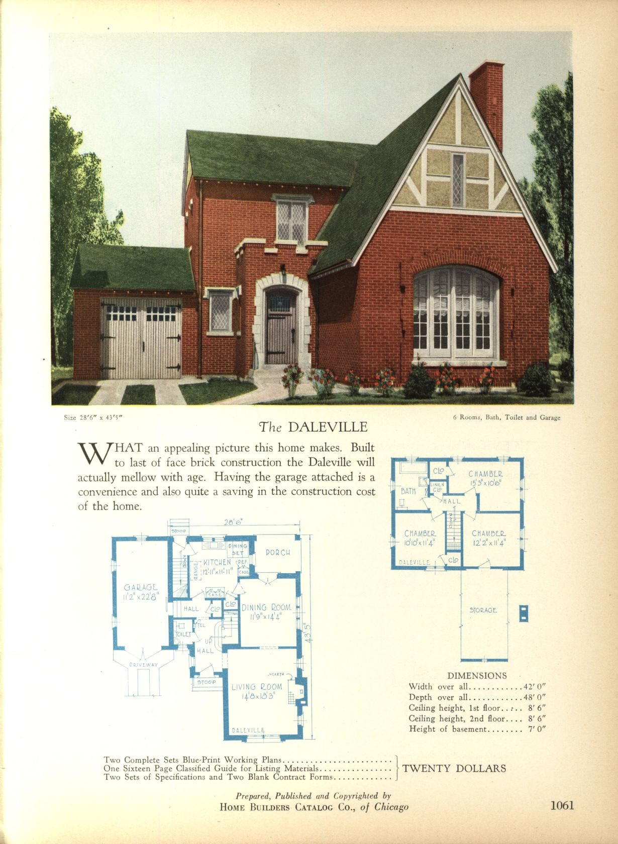 The DALEVILLE   Home Builders Catalog: Plans Of All Types Of Small Homes By  Home