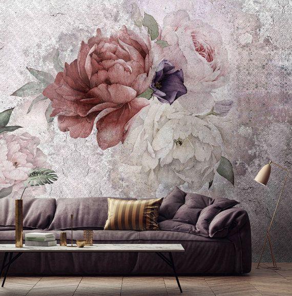 floral wallpaper, temporary wallpaper, loft design,removable