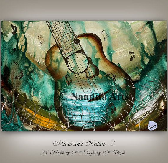 Tableau Peinture Abstraite Moderne Abstract Guitar Painting, Original Modern Music Art On