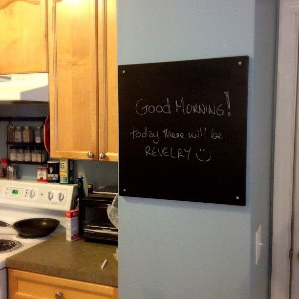 Awkward kitchen column becomes chalk board! I painted a thrift store