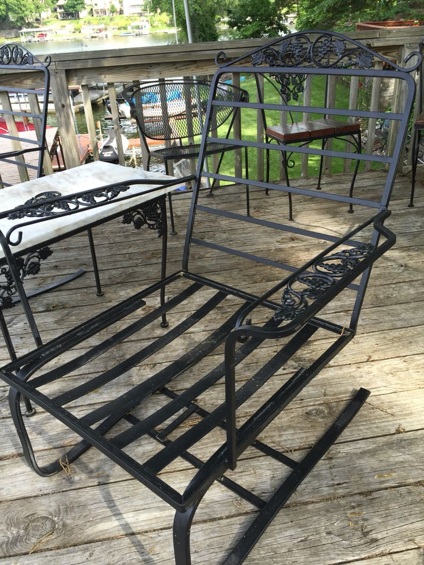 Metal outdoor club chairs - Woodard Grape Leaf Wrought Iron Bouncing Club Chair