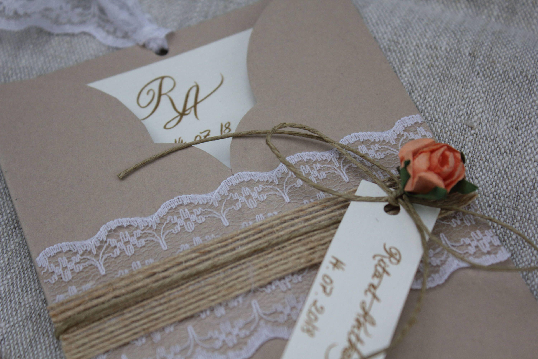Invitation Pocket range. Romantic chic. burlap and salmon