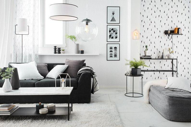 Un Salon Avec Une Cloison Vegetale De Separation Leroy Merlin Decoration Salon Noir Meuble Noir Et Blanc Decoration Salon Noir Blanc Gris