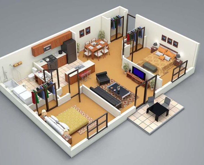 3d floor plan 2 bed planos de casa em 2019 house for Planner casa gratis