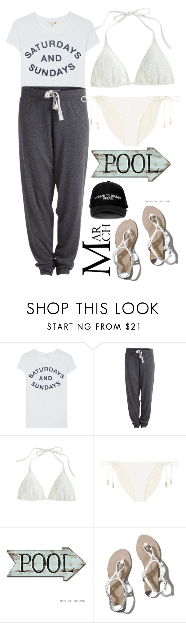 """""""Tan. Pool. Relax"""" by lseed87 ❤ liked on Polyvore featuring Sundry, Pieces, J.Crew, ViX, Abercrombie & Fitch and Manolo Blahnik"""