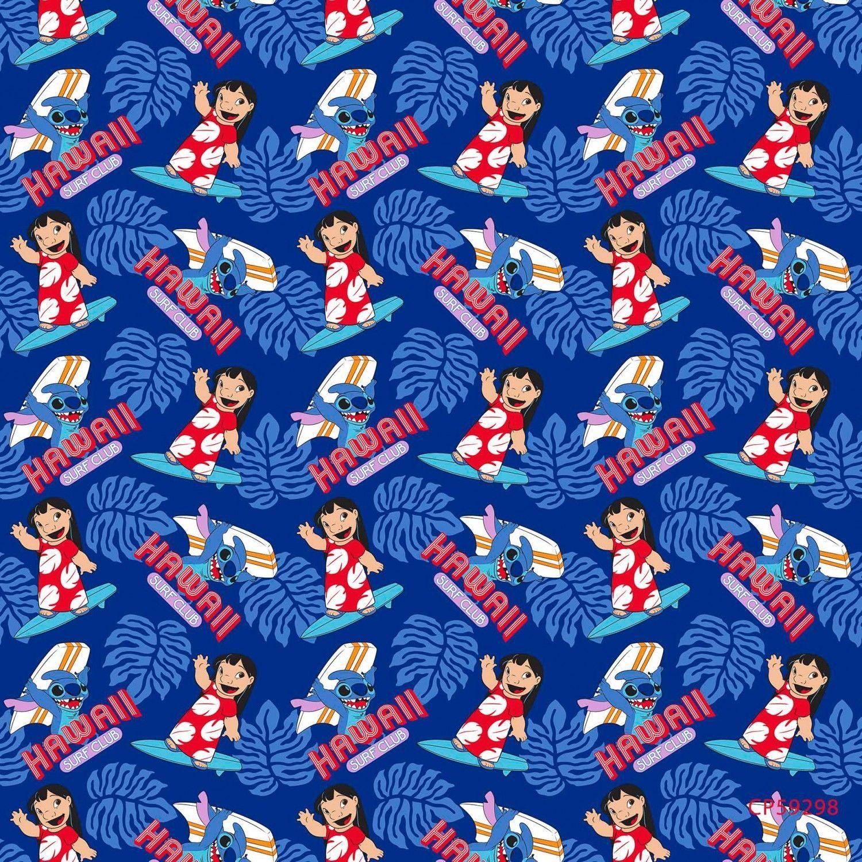 Disney Lilo u Stitch Surfus Up Navy Blue cotton Fabric by the