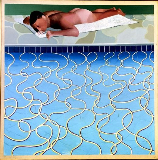 Hockney's Sunbather from Masculin expo in Paris.