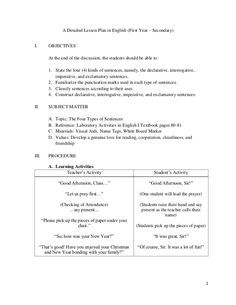 A Detailed Lesson Plan In English First Year  SecondaryI