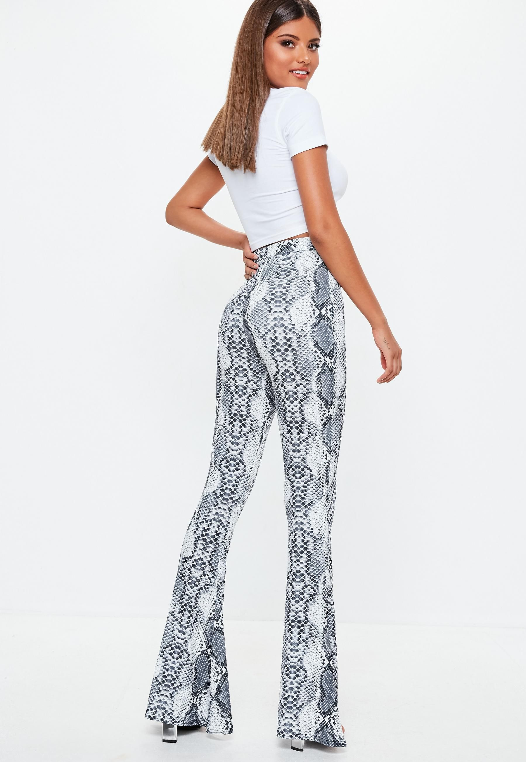 a0030510f3b5e0 Grey Slinky Snake Print Flare Pants | Missguided | fall/winter 2018 ...
