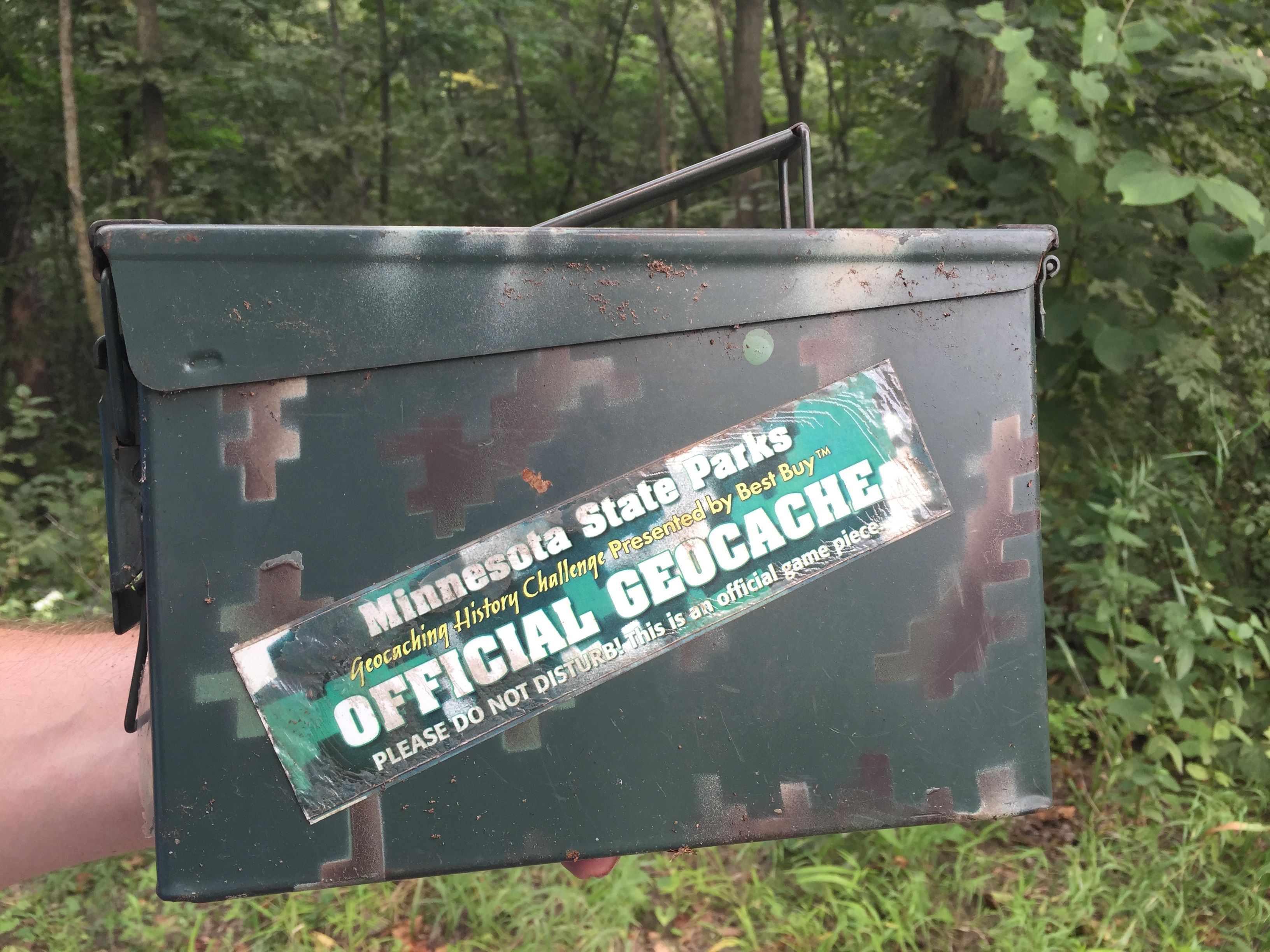 A hidden gem!  In Upper Sioux Agency State Park in Minnesota they have a private set of geocaches you can find and earn a cool coin AND find one of the original Minnesota State Park History challenge cards from 2008/2009.