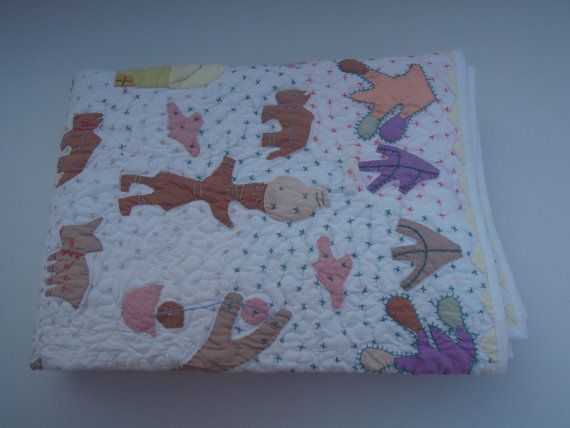 Baby Modern Quilt  Crib Applique Handmade Blanket by Labhanshi, $99.00