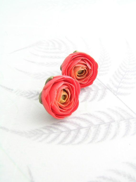 Red Ranunculus Flower Stud Earrings Red Floral Jewelry Polymer Clay Flowers Floral Jewellery Polymer Clay Earrings
