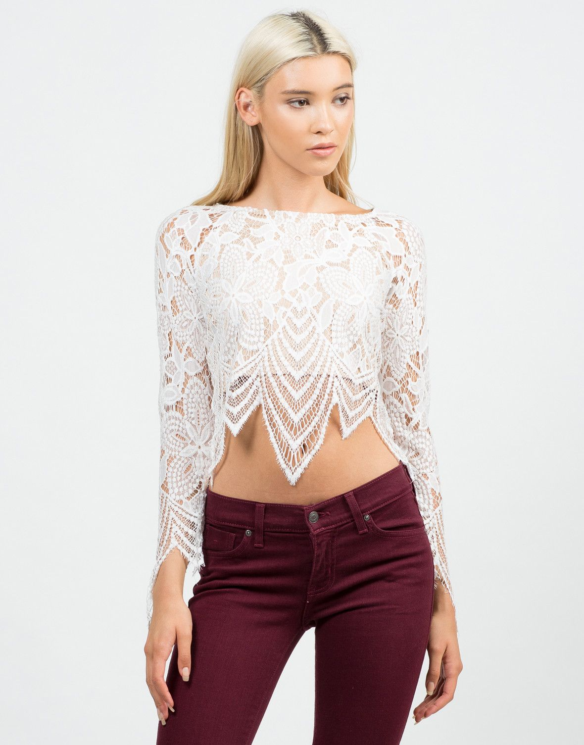 9a895b7525cdb Floral Lace Crop Top - White Top - Long Sleeve Top – Tops – 2020AVE