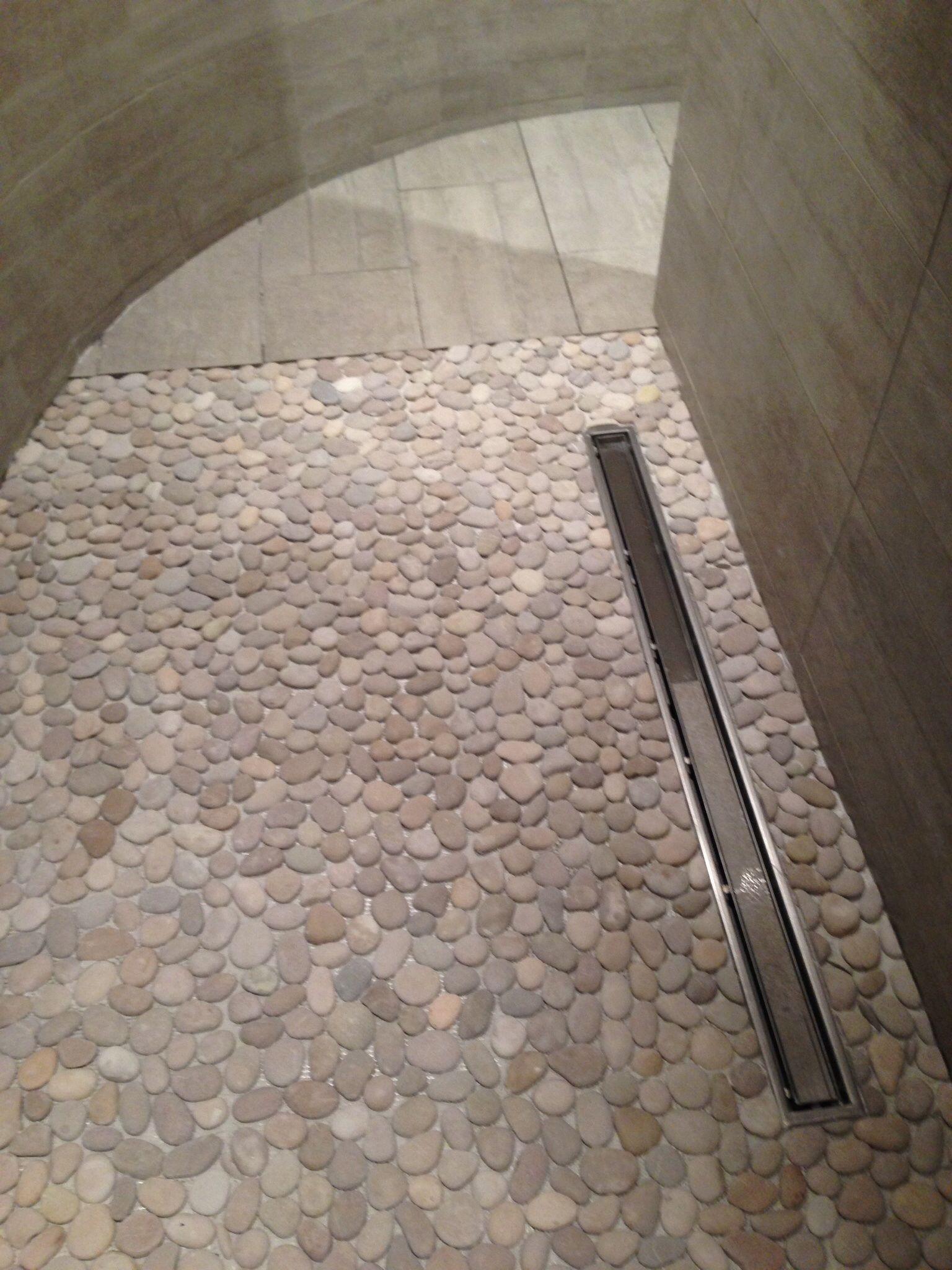 Pebble Mosaic Shower Floor Linear Drain Large Format Porcelain Tile Shower Floor Pebble Shower Floor Bathroom Shower Tile