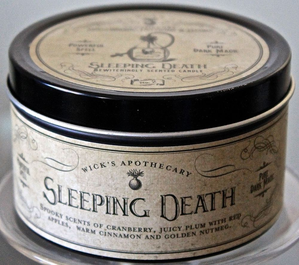Haven street candle co sleeping death red soy wax metal container