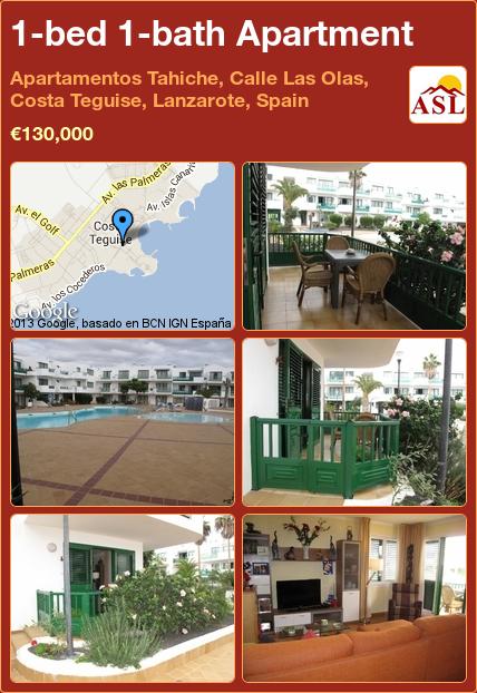 1 Bed Bath Apartment In Apartamentos Tahiche Calle Las Olas Costa Teguise Lanzarote Spain 130 000 Propertyforinspain