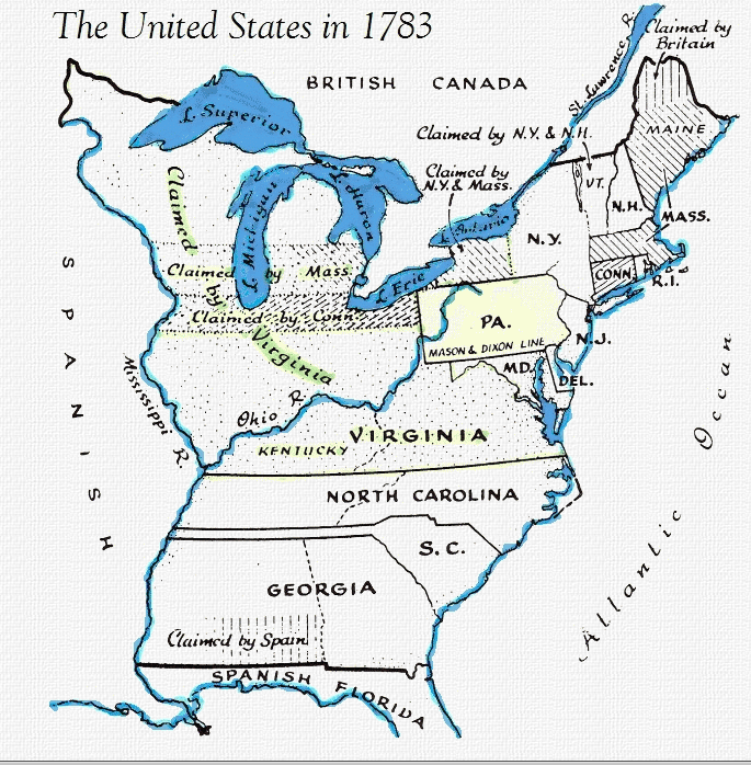 Map of U.S. in 1783   Geology   Pinterest   American history