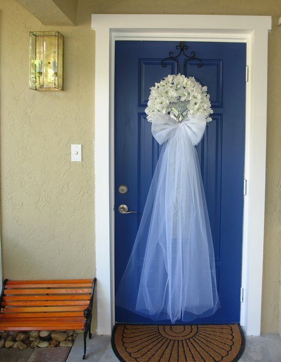 Photo of Wedding wreaths for outdoor front door wreaths and garden decorations white wreaths country French weddings