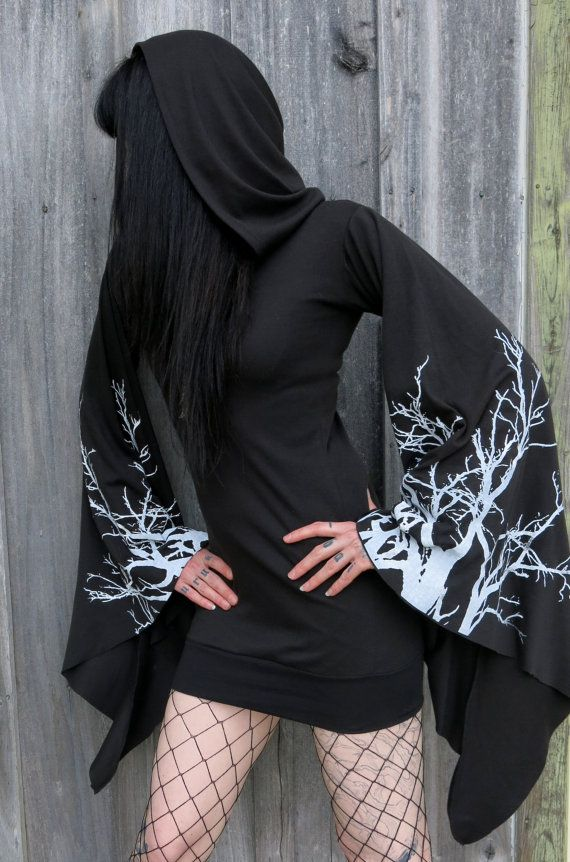 ce2c474eb2b Lavinia Black Branches Hooded Drape Tunic Dress by HellCouture ...
