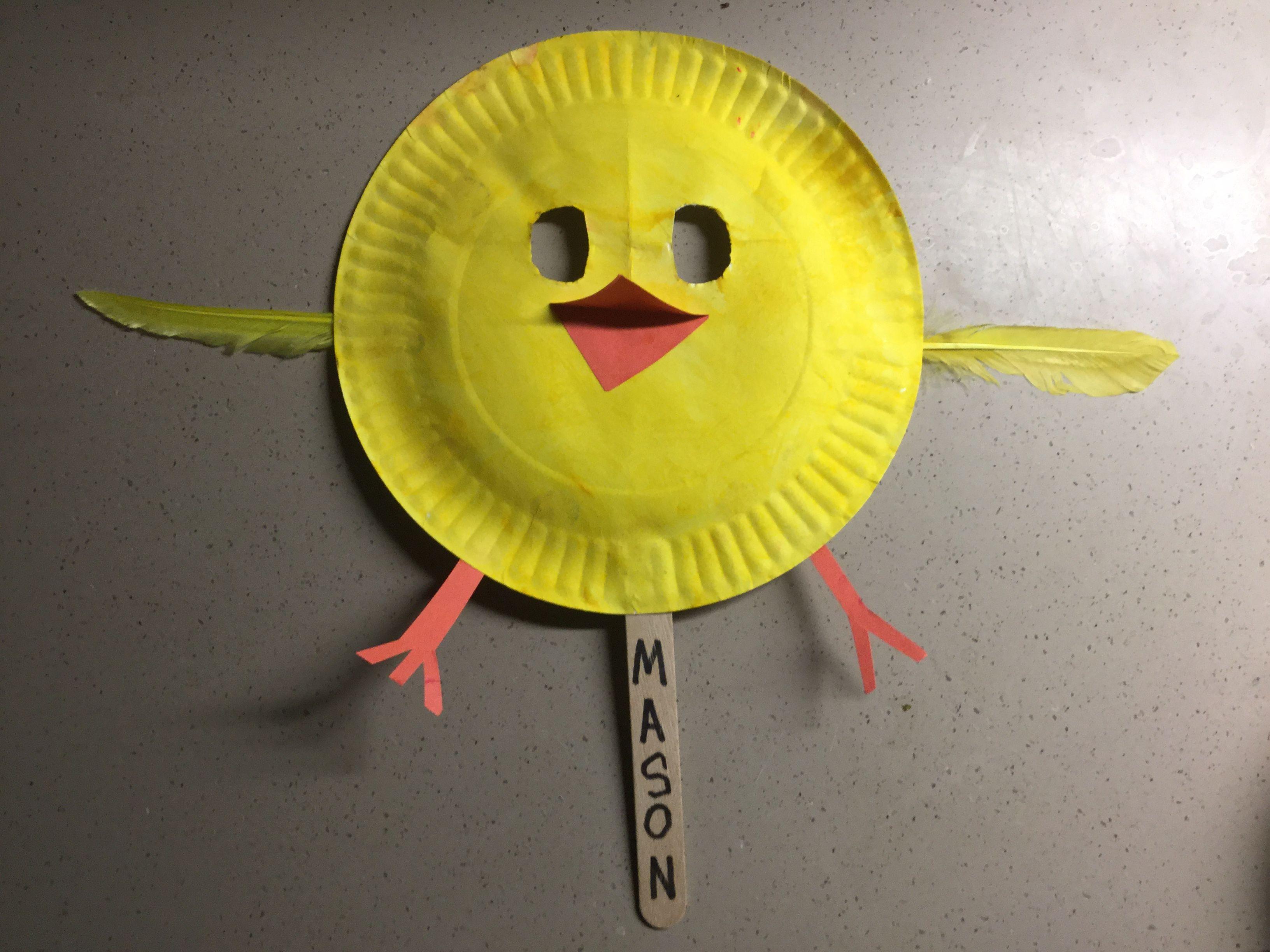 chicken paper plate mask craft preschool pink puppet