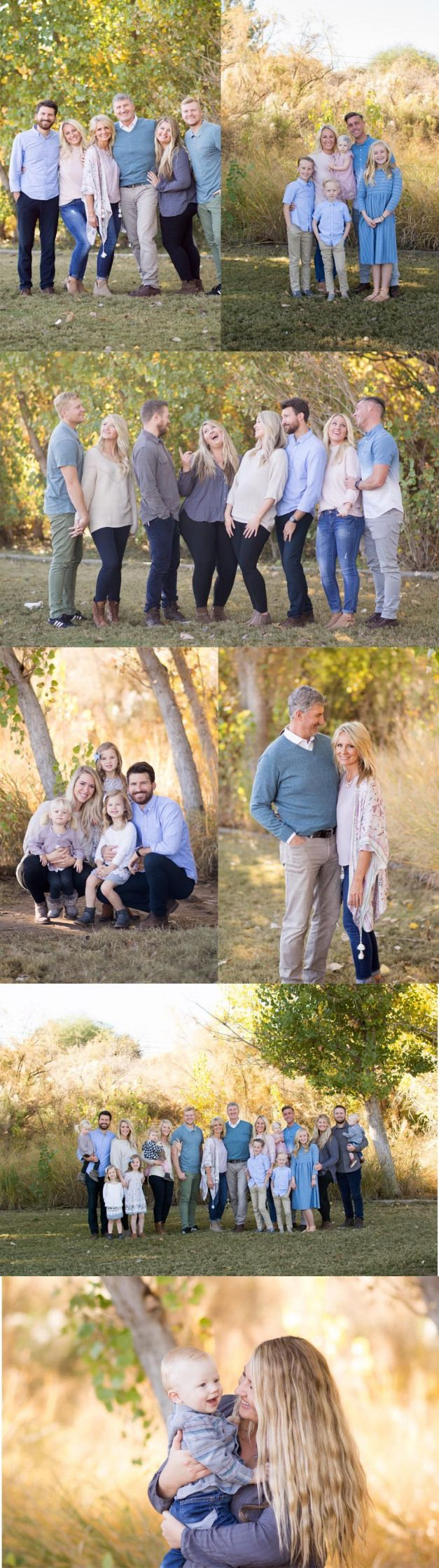 Extended family portrait session in light blues and blush.  Photographed at Nichols Park in Gilbert AZ by Arizona family portrait photographer Melissa Maxwell of Jubilee Family Photography. #familyphotography #family #photography #what #to #wear #extendedfamilyphotography