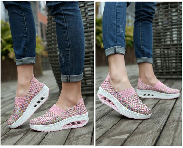 Women's Colorful Rocker Sole Shoes Handmade Knit Shake Shoes Slip Ons Sneakers