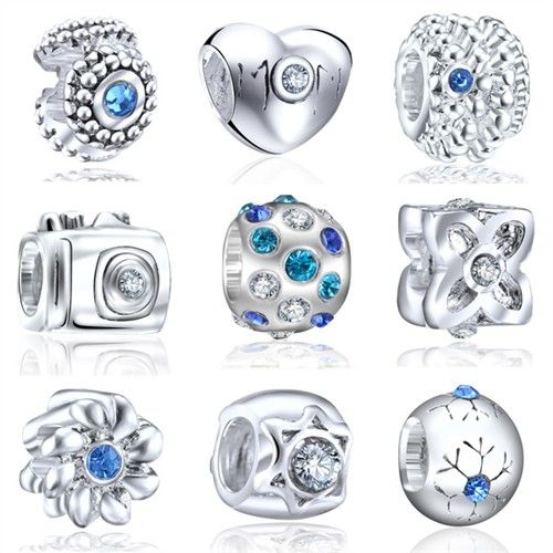 9pcs Elite Silver European Bead Charm Opal Birthstone & Swirls Barrel CZ Spacer NY09 - New Arrivals- - TopBuy.com.au