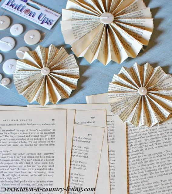 How to make a book page fan garland - easy and inexpensive