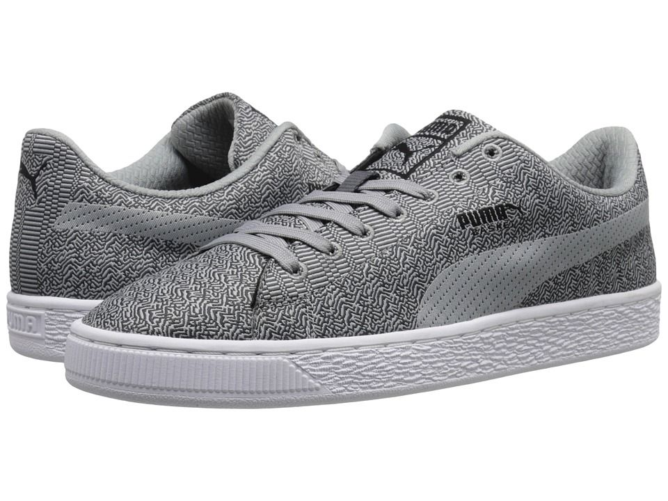 Mens Shoes PUMA Basket Classic Woven Dark Shadow/Limestone/Gray/Black